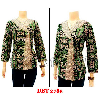 DB2785 Baju Bluse Batik Wanita Terbaru 2013