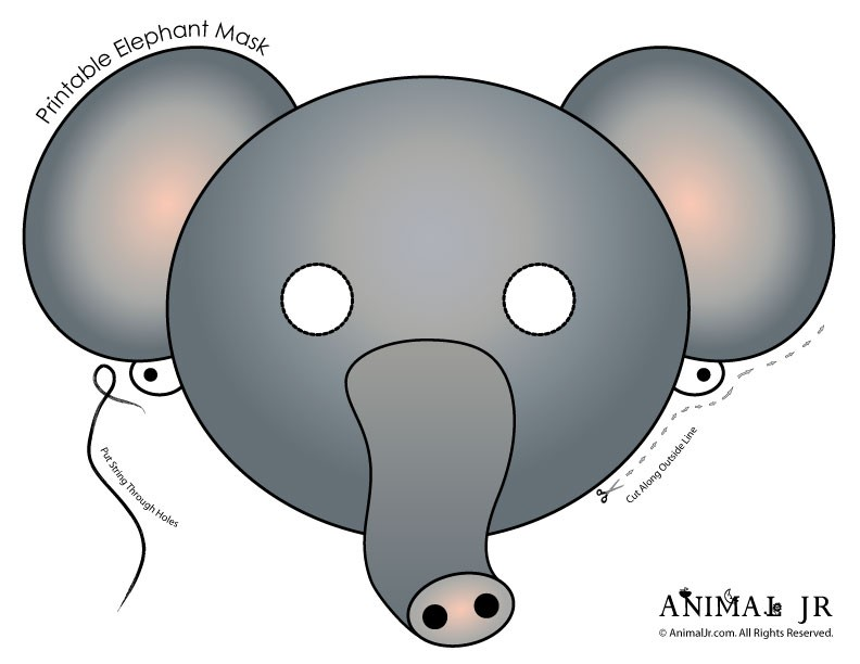It is a graphic of Sweet Elephant Mask Printable