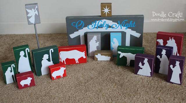 http://doodlecraft.blogspot.com/2012/12/wooden-silhouette-vinyl-nativity-set.html