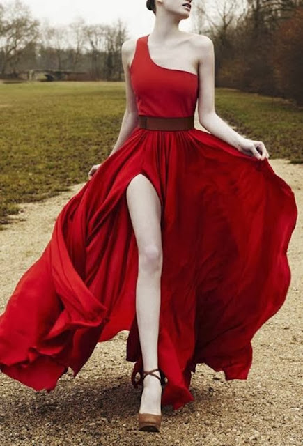 red evening dress
