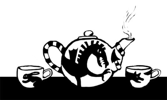 teapot, teacups, book art