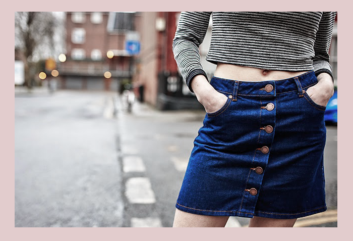 seventies+skirt+denim+buttoned+vintage+70's+trend+how to wear+inspiration