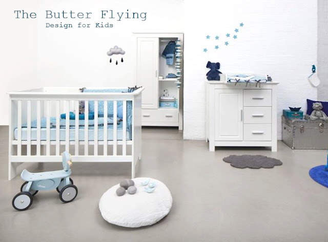 Chambre bébé bleu et gris  Grey and blue nursery  The Butter