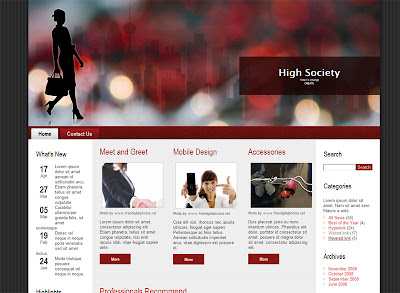 Blog template High Society theme