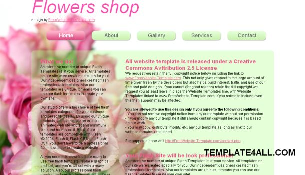 Flowers Shop Pink CSS Website Template