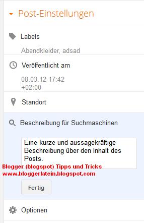 Meta Tags Blogger Blogspot. Suchmaschinenoptimierung Blogger Blogspot. Sucheinstellungen Blogger Blogspot.