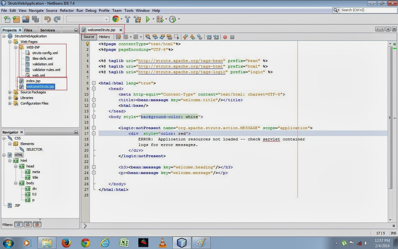 Java web development how to create java struts web application find java struts tutorial to learn how to create struts java ee 7 web application project baditri Image collections