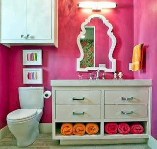 Pink in the bathroom