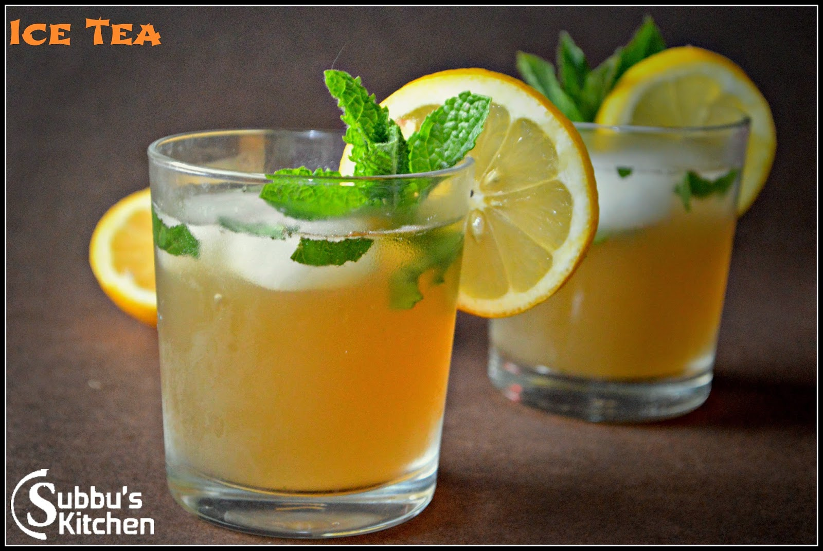 Ginger-Mint-Green Iced Tea | Subbus Kitchen