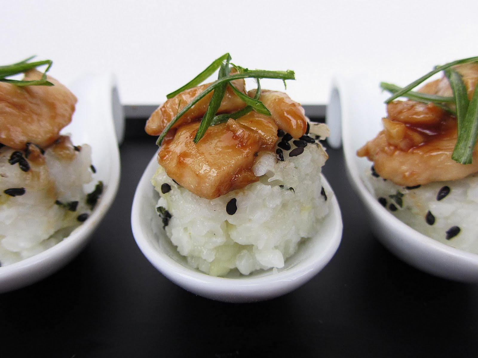 garlic chicken on bok choy rice cakes