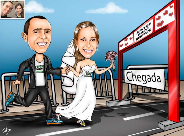 #bemestar #noivinhos #correndo #juntos #caricatura #desenhista #ilustração