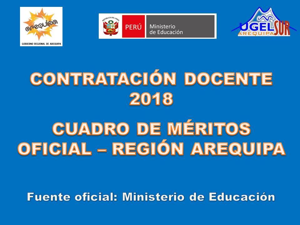 CUADRO MÉRITOS CONTRATACIÓN DOCENTE 2018 AREQUIPA