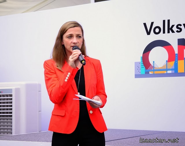 Ms Petra Schreiber, Director, Marketing & Communiscation, Volkswagen Malaysia sharing her welcome address at the media launch of 'Volkswagen On Tour'.
