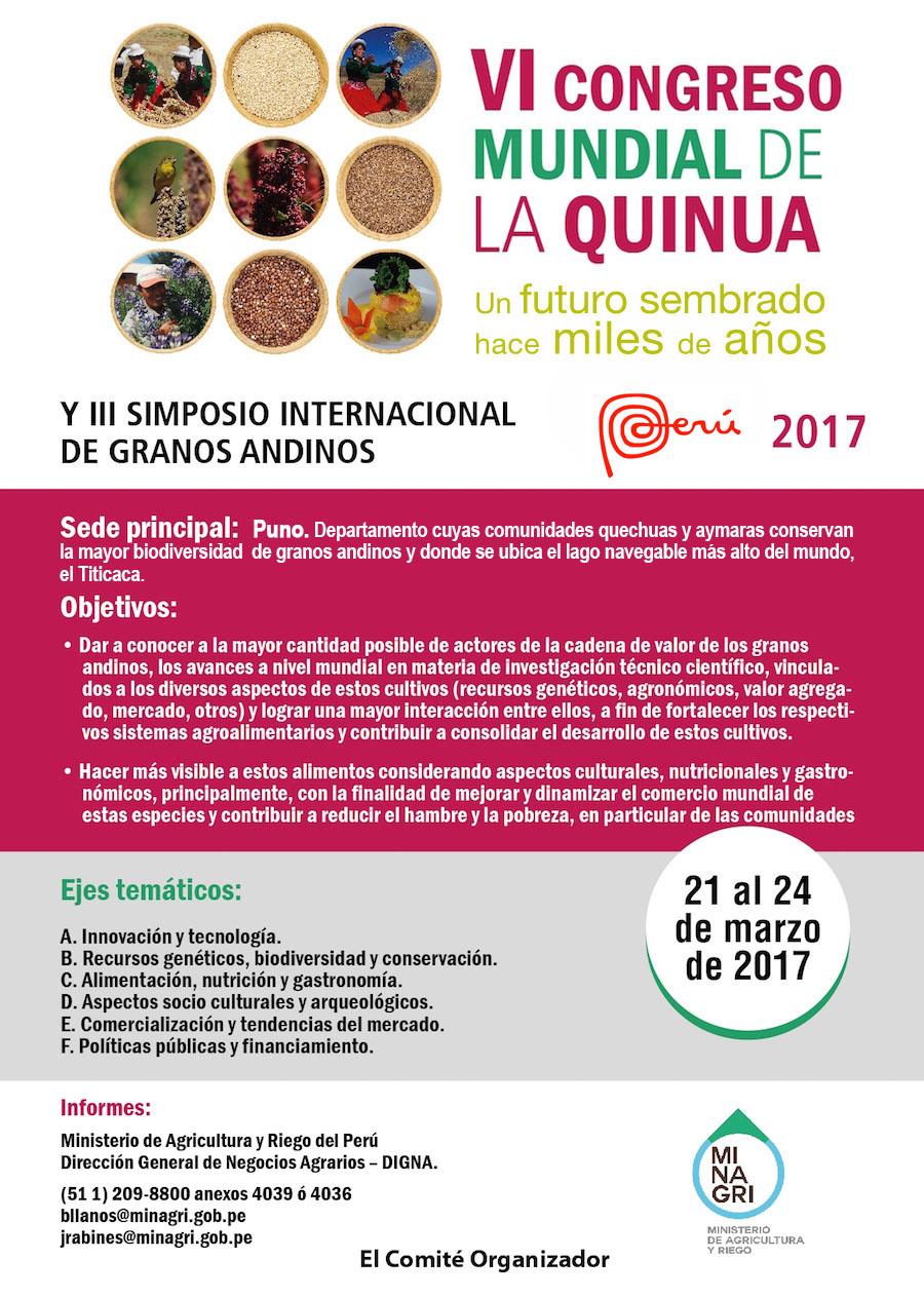 VI CONGRESO MUNDIAL DE LA QUINUA Y III SIMPOSIO INTERNACIONAL DE GRANOS ANDINOS 2017