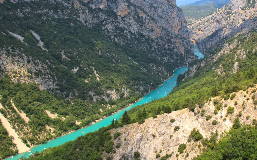 Verdon Gorge, Provence The Gorge du Verdon, France's answer to the Grand Canyon, plunges 1,000ft to the emerald-green river below. Just across the breathtaking void is La Palud-sur-Verdon, the rugged highland village in which we began our tour of the region known as La Provence Verte, writes Telegraph Travel's Ray Kershaw.