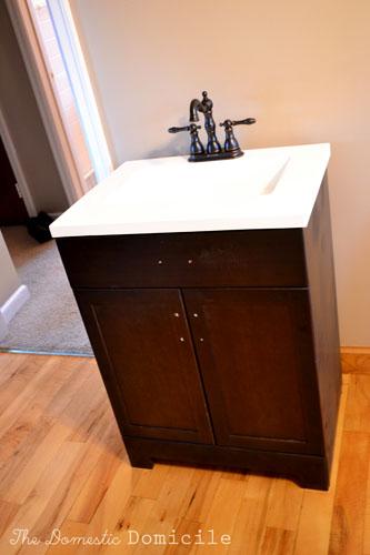Installing The Bathroom Vanity The Domestic Domicile - Installing bathroom vanity with floor plumbing