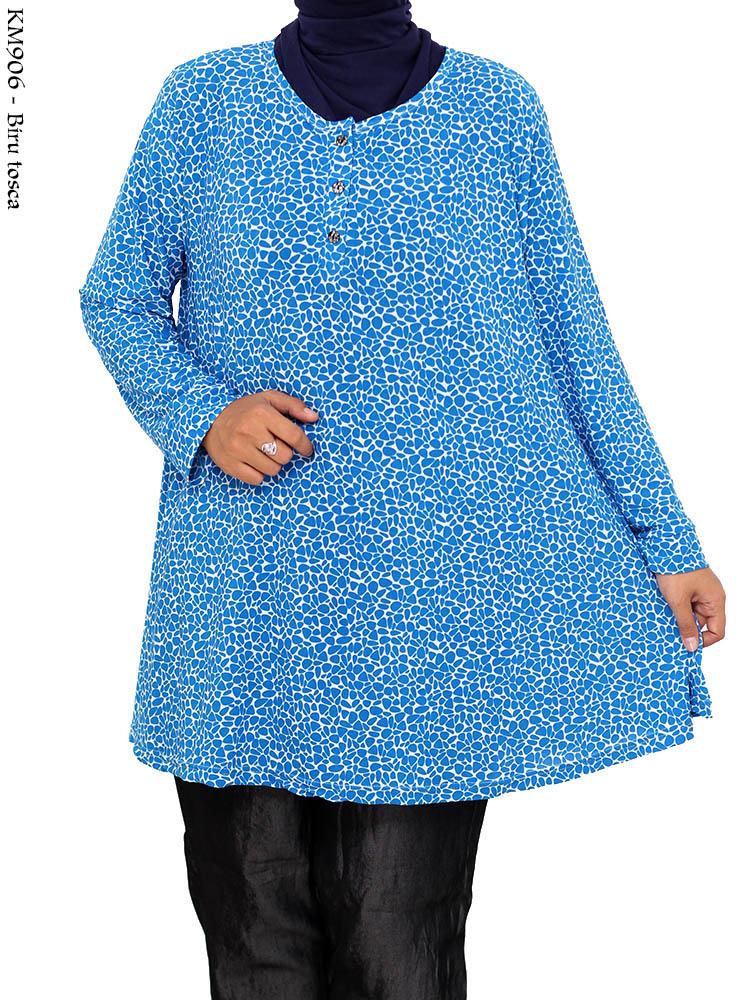 Km906 Atasan Blus Jumbo Kaos Polkadot Busana Muslim