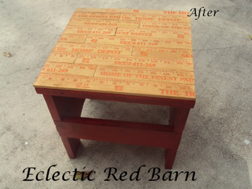 Eclectic Red Barn: Yard Stick Stool Makeover