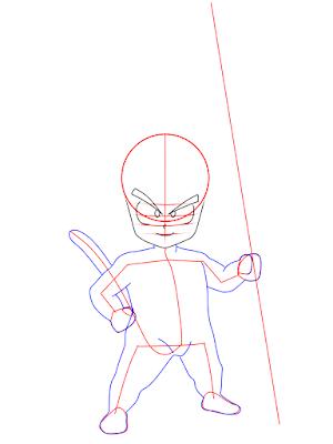 cara menggambar Goku kecil tahap 8