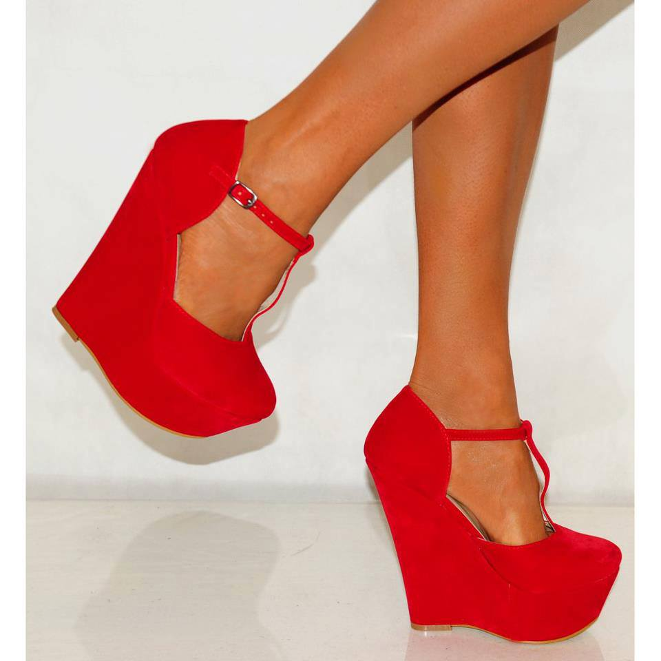 high wedge shoes red - photo #40