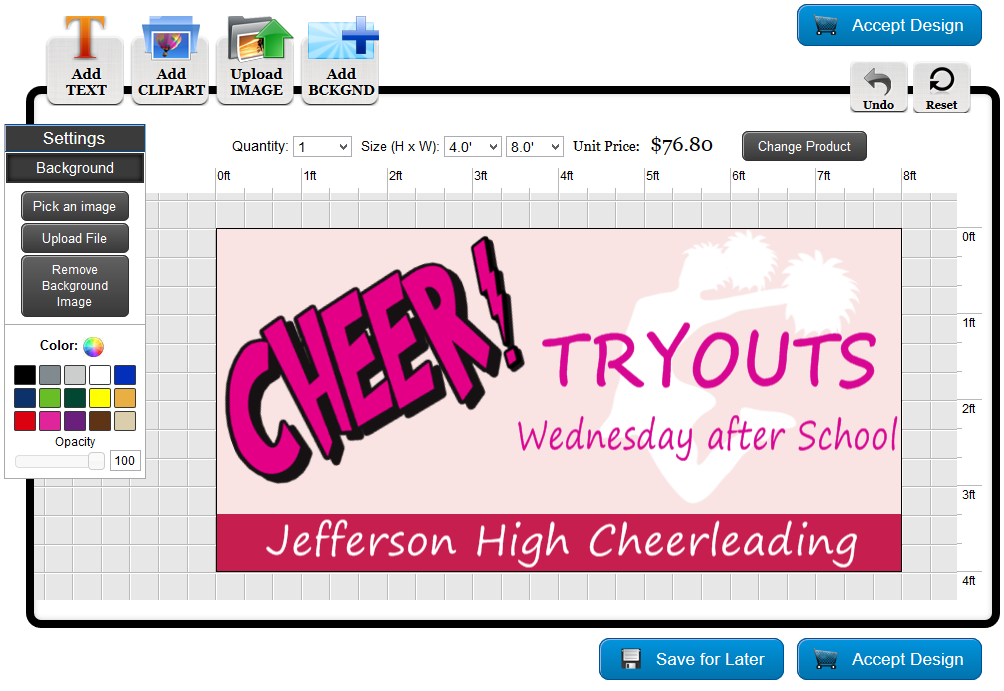 Cheer Banner Template in the Online Designer