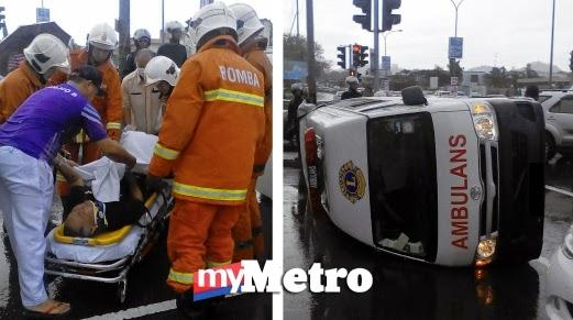 Ambulans terbalik di Kota Kinabalu pesakit jantung nyaris maut