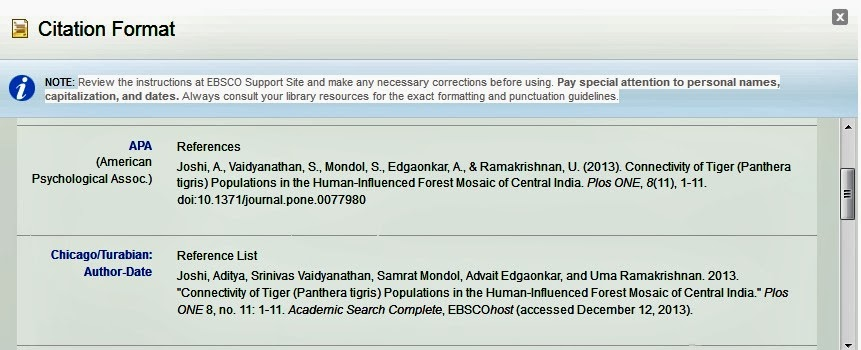 An example of a preformatted citation from EBSCO Academic Search Complete.