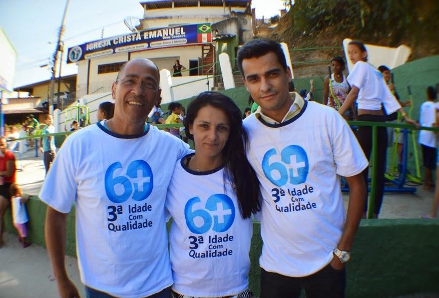 Professor Luiz Lisardo, enfermeira Natalice Ribeiro e o fisioterapeuta Thiago Medeiros: exercícios com orientação profissional em Santa Cecília