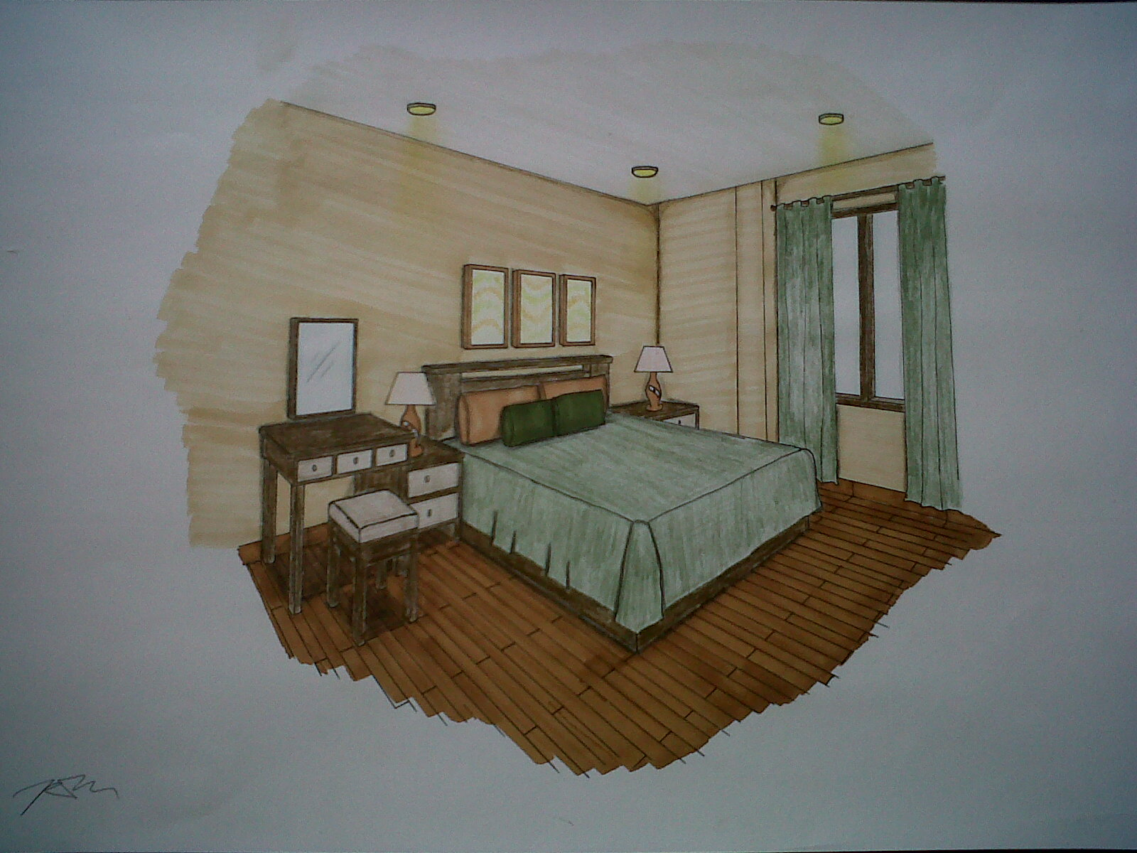 Bedroom drawing perspective - Sheila S Project Interior Design 2 Living Home Project