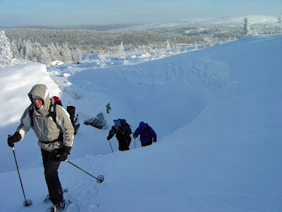 Snowshoeing at Hostel Ahopää in Saariselkä, Lapland.