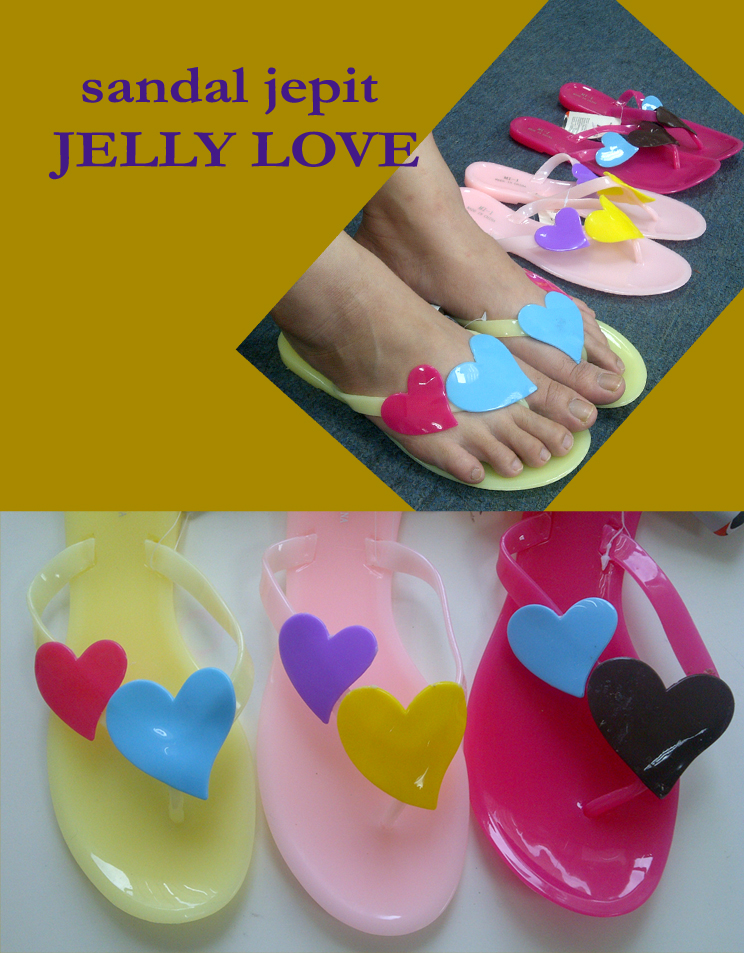 sandal jepit jelly - heart - love - shopinc shop