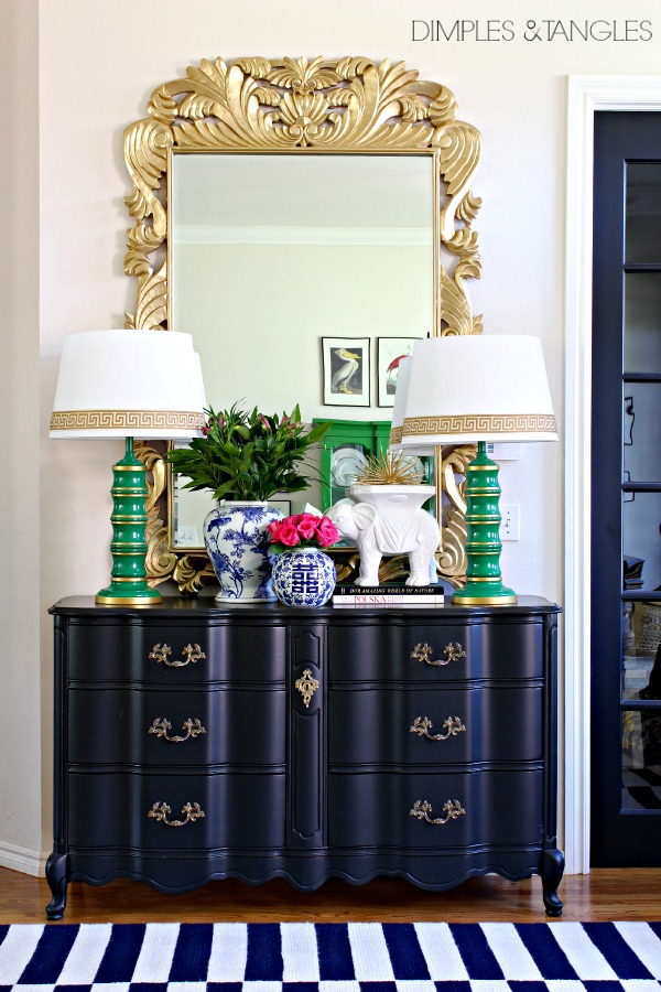 Sherwin Williams Tricorn Black, french provincial dresser, gold ornate mirror