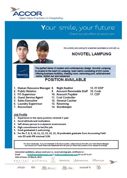 Lowongan Kerja Hotel Novotel Lampung Terbaru Maret 2013