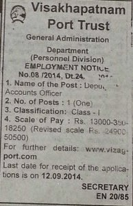 Deputy Accounts Officer Recruitment at Kerala – Visakhapatnam Port Trust