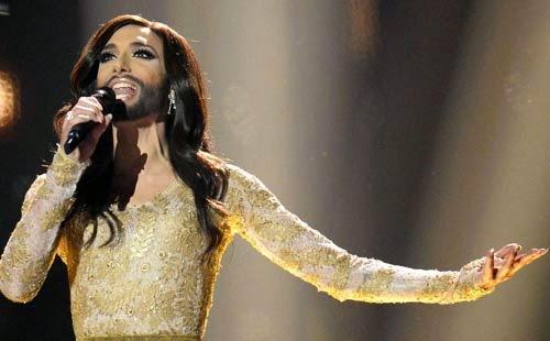 مغنية متحولة جنسيا بشارب ولحية تفوز فى يوروفيجن 2014