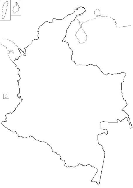 croquis del mapa de colombia