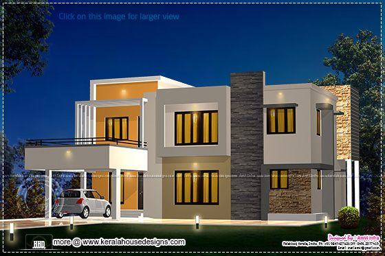 Floor plan and elevation 2277 sq ft house kerala home for Flat roof elevation