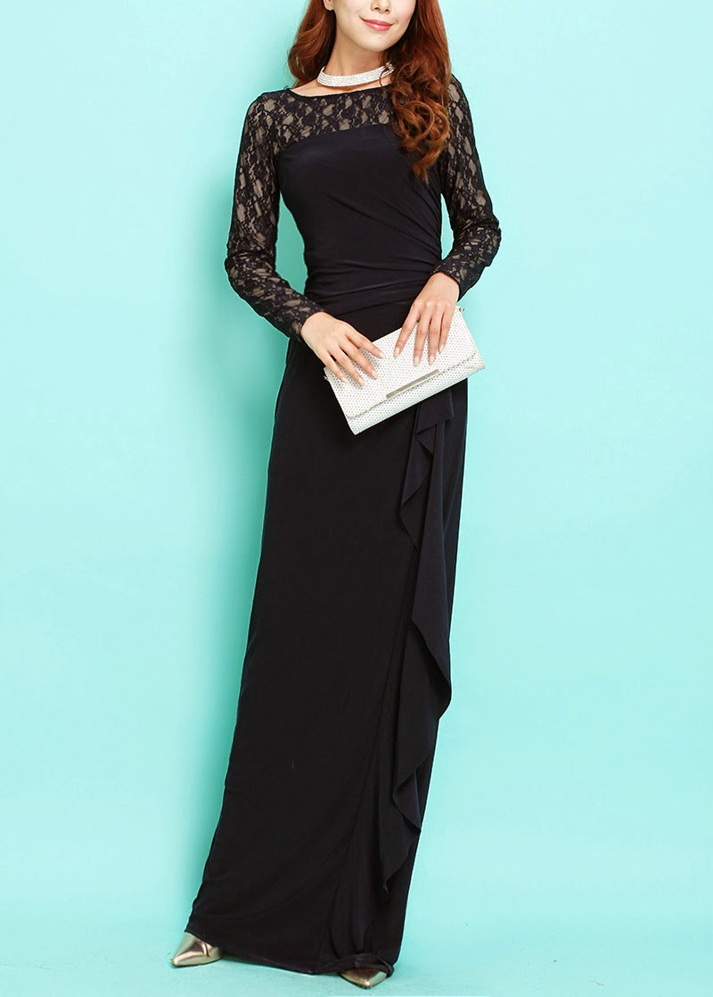 Fully-lined Lace Long Sleeve Maxi
