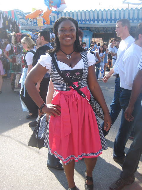 Black girl in dirndl oktoberfest