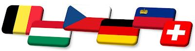 Bandeiras de países europeus - Bélgica, Hungria, Rep. Tcheca, Alemanha, Liechtenstein, Suiça