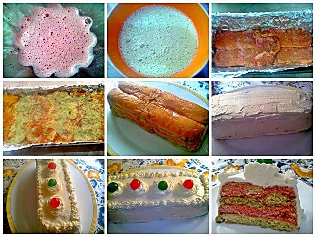 Preparación de la tarta de bizcochos con cerezas en almíbar