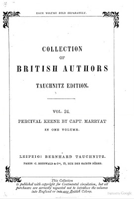 Title page for the Tauchnitz edition of Percival Keene, it is possible that his was the version read by Wilkinson, image from Google books