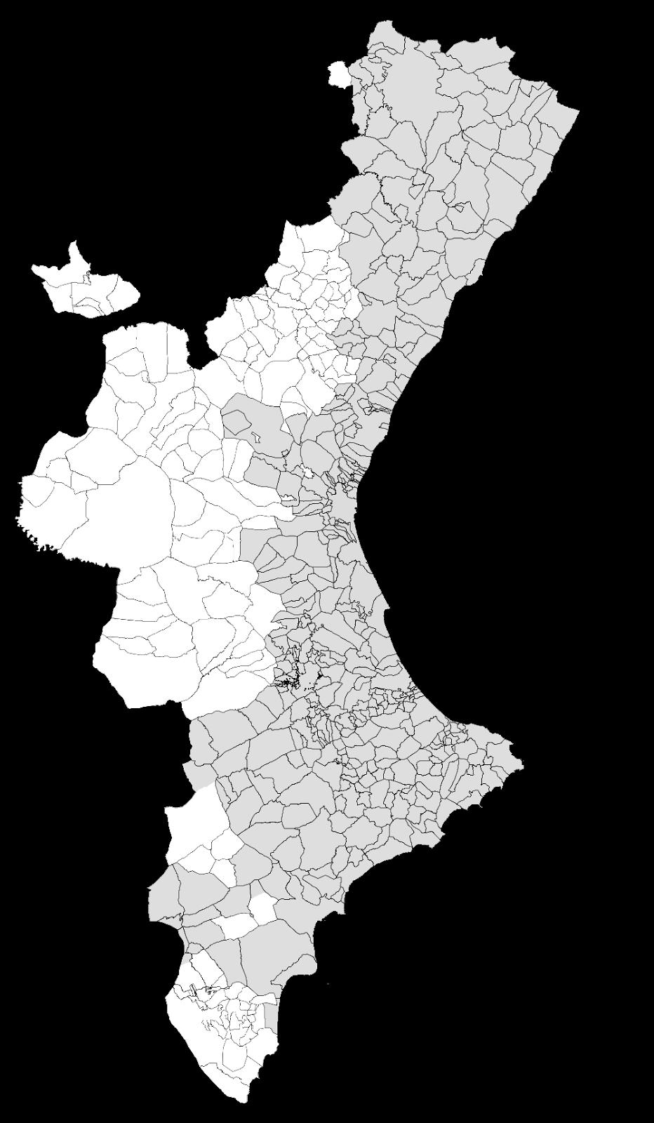 Mapa mudo de Valencia para imprimir