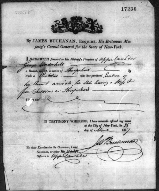 Immigrants to Upper Canada via New York 1817-1819.  Pass for George Underhill