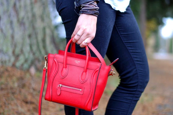 Celine Nano Luggage red