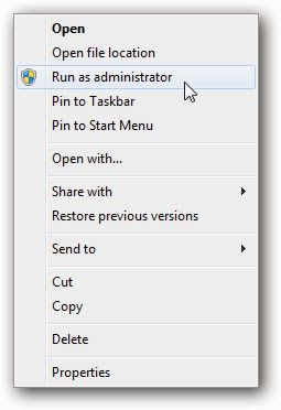 run application as an administrator