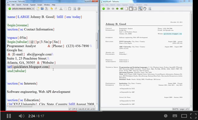 5blatex video tutorial 5d how to create a resume or cv in latex png