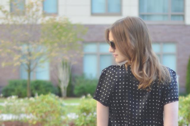 Ann Taylor Parallel Dots Pleat Neck Top