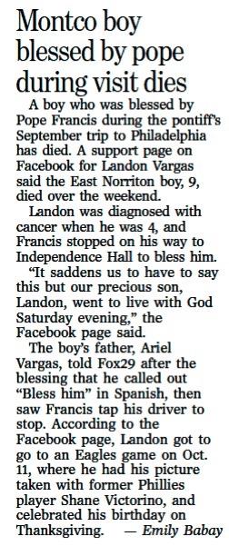 Philadelphia Inquirer pope visit story