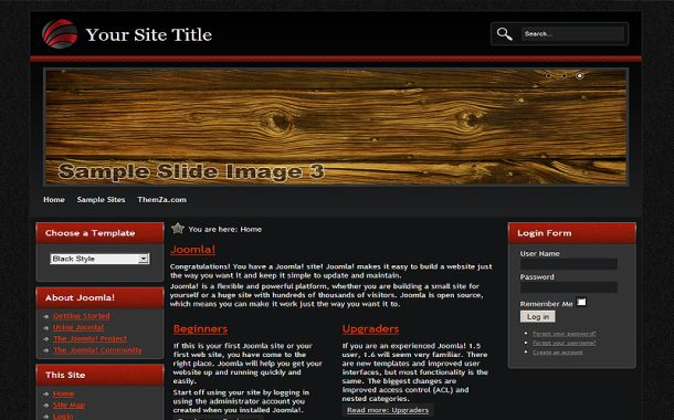 Red Black Wood Free Joomla 1.6 Theme Template